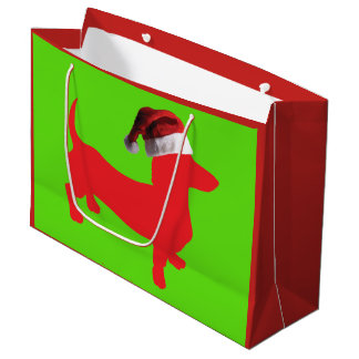 Red Dachshund Wearing a Santa Claus Hat Large Gift Bag