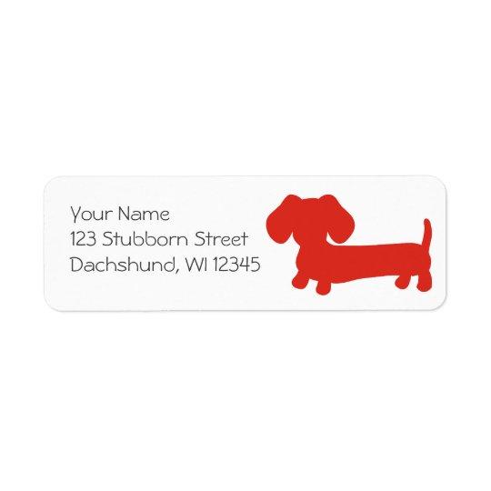 Red Dachshund Wiener Dog Return Address Labels