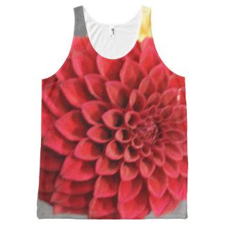 Red Dahlia Flower All-Over Print Singlet