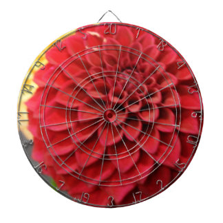 Red Dahlia Flower Dartboard