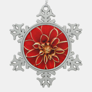 Red dahlia flower illustration snowflake pewter christmas ornament
