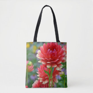 Red dahlia flowers tote bag