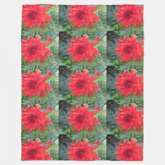 Red Dahlia Plant Fleece Blanket