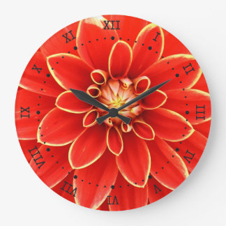 red dahlia with yellow border clock