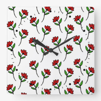 Red Daisies Square Wall Clock