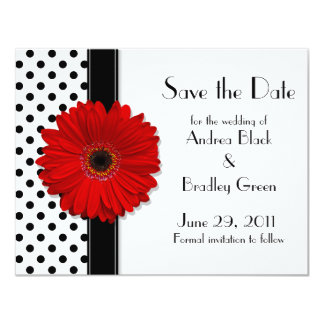 Red Daisy Black White Polka Dot Save the Date 11 Cm X 14 Cm Invitation Card