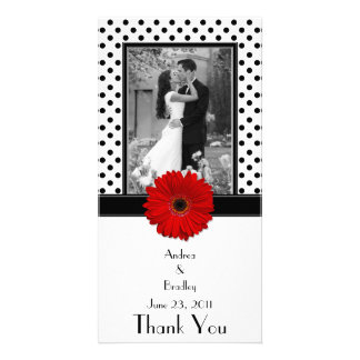 Red Daisy Black White Polka Dot Wedding Photocard Picture Card