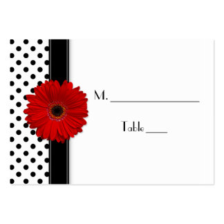 Red Daisy Black White Polka Dot Wedding Place Card Pack Of Chubby Business Cards