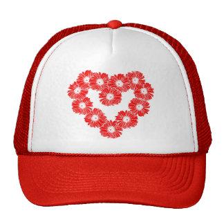Red Daisy Chain Heart Mesh Hat