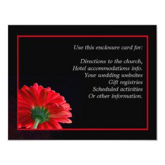 Red Daisy Enclosure Card 11 Cm X 14 Cm Invitation Card
