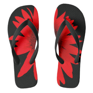 Red Daisy Flip Flop Shoes