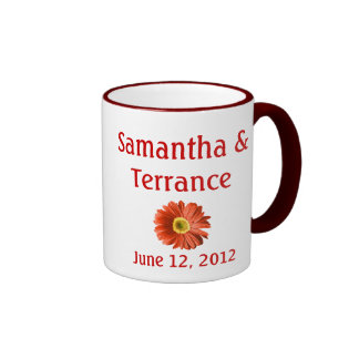 Red Daisy Flower Customizable Ringer Mug