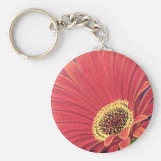 Red Daisy Flower Painting - Multi Basic Round Button Key Ring