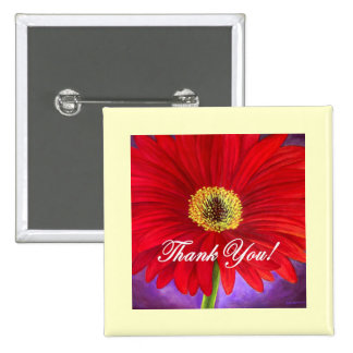 Red Daisy Flower Painting - Multi Button