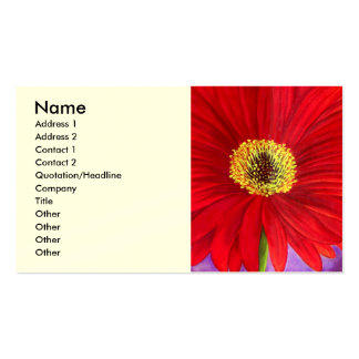 Red Daisy Gerber Flower Painting Art - Multi Business Card Template