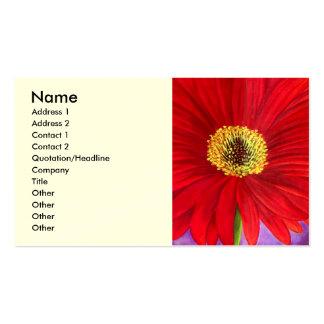 Red Daisy Gerber Flower Painting Art - Multi Business Card Template