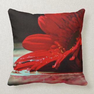 Red Daisy Gerbera Flowers Cushion