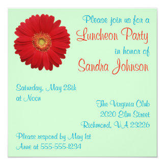 Red Daisy Luncheon Party Card