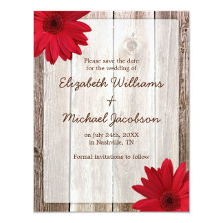 "Red Daisy Rustic Barn Save the Date Announcement 4.25"" X 5.5"" Invitation Card"