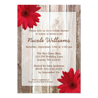"Red Daisy Rustic Barn Wood Bridal Shower 5"" X 7"" Invitation Card"