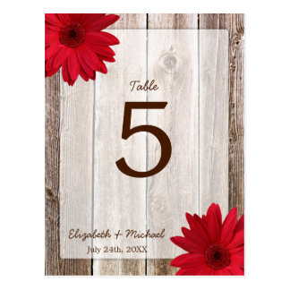Red Daisy Rustic Barn Wood Wedding Table Number Postcard
