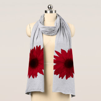 Red Daisy shown on Grey Scarf