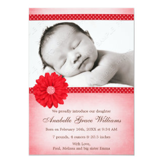 Red Daisy Sparkle Girl Photo Birth Announcement