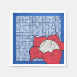 Red Daisy with Blue Background Wedding Napkins Disposable Napkin