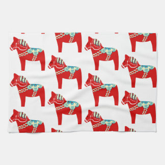 Red Dala Horse Kitchen Towel