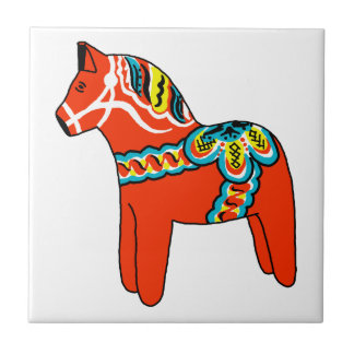 Red Dala Horse Small Square Tile