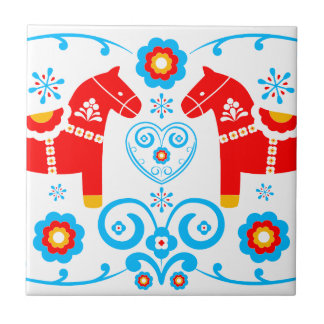 Red Dala Horses Small Square Tile