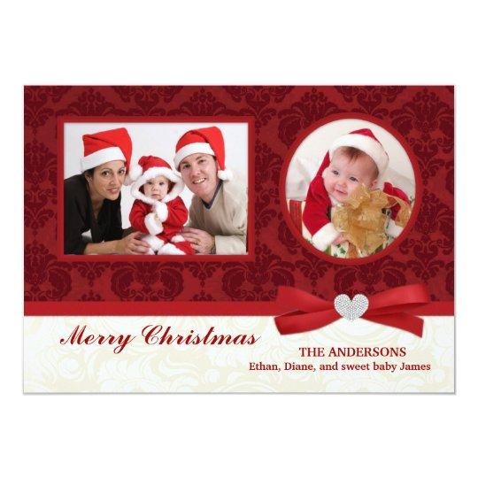 Red Damask 2-Photo Holidays Flat Card