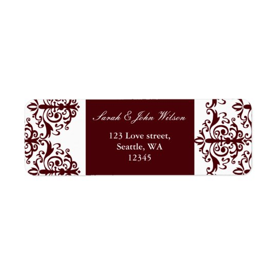 red damask address lable return address label