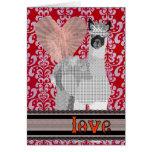 Red Damask Alpaca Love  Valentine Greeting Card