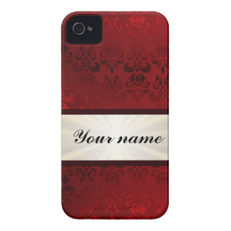 Red damask and ribbon iPhone 4 Case-Mate case