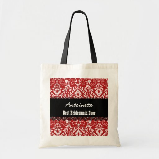 RED Damask Best Bridesmaid Ever Custom Name V10 Tote Bags