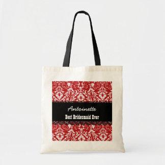 RED Damask Best Bridesmaid Ever Custom Name V10 Tote Bag