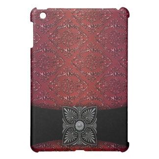 Red Damask Black Velvet Band  Cover For The iPad Mini