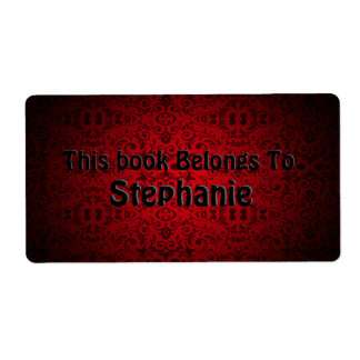 red damask book plate shipping label