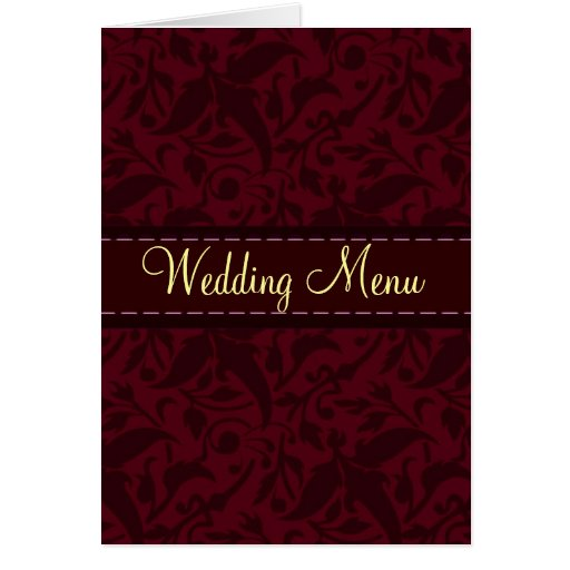 Red damask brocade Wedding menu Cards