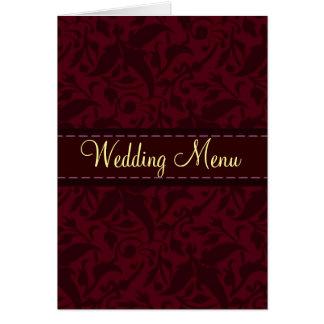 Red damask brocade Wedding menu Note Card
