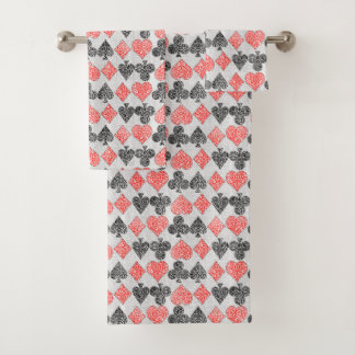 Red Damask Card Suits Heart Diamond Spade Club Bath Towel Set