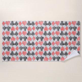 Red Damask Card Suits Heart Diamond Spade Club Beach Towel