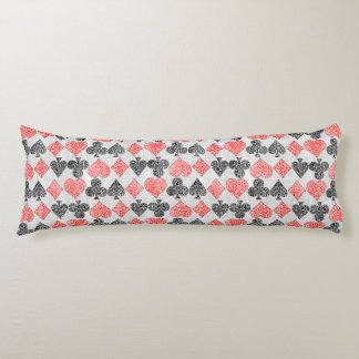 Red Damask Card Suits Heart Diamond Spade Club Body Cushion