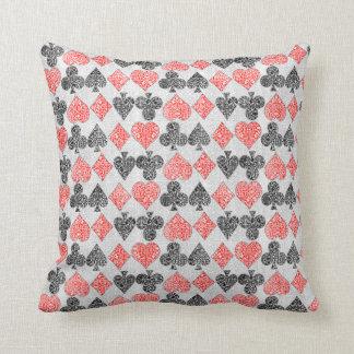 Red Damask Card Suits Heart Diamond Spade Club Cushion