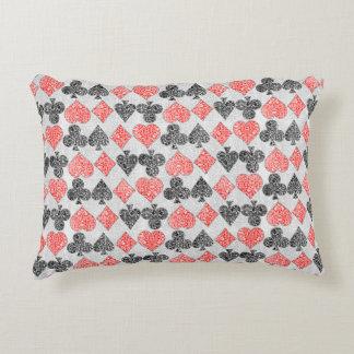 Red Damask Card Suits Heart Diamond Spade Club Decorative Cushion