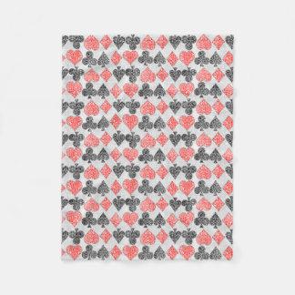 Red Damask Card Suits Heart Diamond Spade Club Fleece Blanket