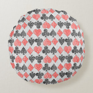 Red Damask Card Suits Heart Diamond Spade Club Round Cushion