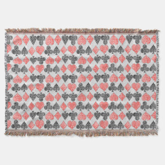 Red Damask Card Suits Heart Diamond Spade Club Throw Blanket
