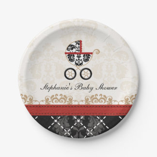 Red Damask Carriage Baby Shower 7 Inch Paper Plate
